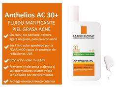 Anthelios AC Spf30 Fluido Mat, (sin color y sin perfume), protección solar facial piel grasa con tendencia a acné , Precio : 222