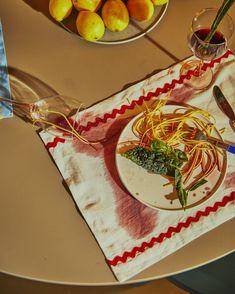 Pretty mess - Pasta and wine. Jore Copenhagen placemats.