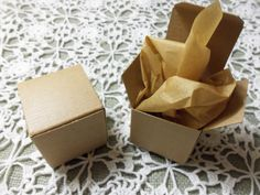 """50 Kraft 2""""x2""""x2"""" Favor, Gift, Jewelry, Candy Boxes, Genuine Kraft Pinstripe Design, One Piece Fold and Tuck"""