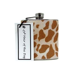 Giraffe Print Liquor Flask 6 or 8 oz with Funnel and Tote Bag. $25.00, via Etsy.