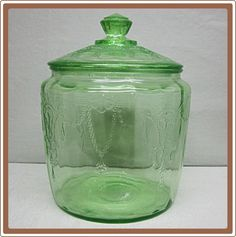 Cameo Depression Glass Cookie Jar Green from cobayley on Ruby Lane