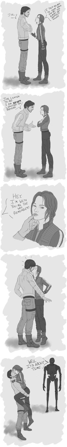 Jyn + Cassian, RebelCaptain, Rogue One, Star Wars - Finally