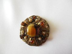 Vintage Brooch Made Germany Art Glass by VJSEJewelsofhope on Etsy, $20.00