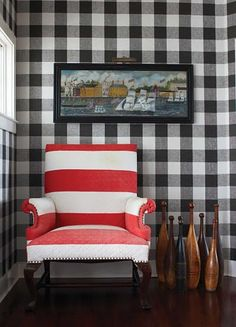 Black & White - Checked Walls and Red & White Wide Stripe Chair