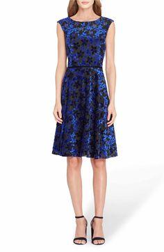 Main Image - Tahari Flocked Velvet A-Line Dress