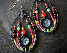 Flowers, Wire Wrapped, Hoops, Blossom Series, Black, Lotus, Artisan Made, Summer, Spring, Glass, Organic, Rustic, Unique, Beaded Earrings
