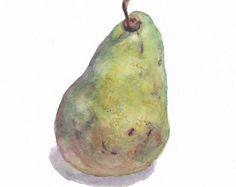 Original botanical watercolor / Small picture / Pear