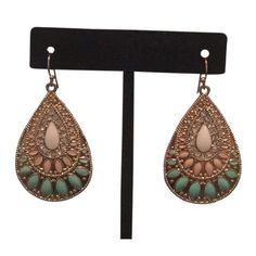 Earthly Calling Earrings Gold and crystal earrings. Played gold with pink and turquoise detail. Nordstrom Jewelry Earrings