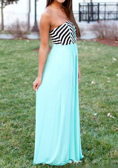 Light Blue Patchwork Striped Bandeau Pleated Floor Length Sexy Dress