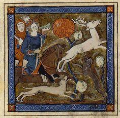 Érec et Énide - Arthur chassant le cerf blanc Chrétien de Troyes (ca. 1135-ca. 1185), Érec et Énide Roman écrit vers 1170 ; manuscrit copié à Arras, vers 1275 BnF, Manuscrits, Français 24403 fol. 119