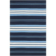 Ralph Lauren Home indoor/outdoor rug, Racing Point Stripe in Admiral Navy. Featured in Architectural Digest's May 2015 issue. Coastal Curtains, Coastal Rugs, Coastal Bedding, Modern Coastal, Coastal Homes, Coastal Style, Coastal Living, Coastal Decor, Coastal Entryway