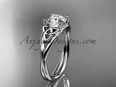 """rose gold celtic trinity knot wedding ring, engagement ring with a """"Forever One"""" Moissanite center stone Irish Celtic Engagement Rings Rose Gold Wedding Rings Celtic Engagement Rings, Unique Diamond Engagement Rings, Celtic Wedding Rings, Wedding Rings Simple, Beautiful Wedding Rings, White Gold Wedding Rings, Engagement Wedding Ring Sets, Wedding Rings Vintage, Unique Rings"""