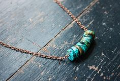 Feminine, Rustic Stacked Turquoise Bead Necklace with Antique Copper Chain & Components