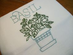 Dish (Tea) Towel with Herb Garden Design Hand Embroidery Flour Sack Dish Towels Basil Dish Towel
