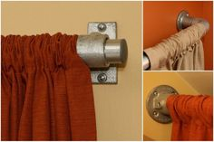Industrial Pipe Curtain Rods - you've got options!  #curtainrods #industrial #pipefurniture