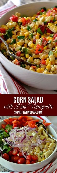 2 Easy Homemade Caramel Popcorn Recipes Corn Salad Corn Recipe Summer Salad Summer Side Recipe Using Fresh Corn Barbecue Side Salad Picnic Food Small Town Woman Vegetable Dishes, Vegetable Recipes, Vegetarian Recipes, Healthy Recipes, Corn Recipes, Side Dish Recipes, Salad Recipes, Picnic Recipes, Soup And Salad