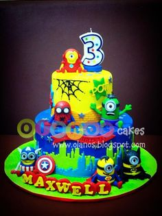 Superhero Minions cake...my Justn is going to want this for his 8th birthday! I'm gonna have to make it! :)