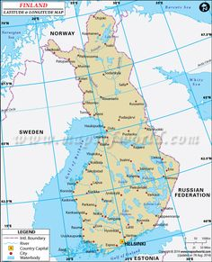 Latitude and longitude of Finland is N and E. Find Finland latitude and longitude map showing comprehensive details including cities, roads, towns, airports and much more. Latitude And Longitude Map, Finland Map, Map Store, Charles Town, Port Royal, Country Maps, Geography, Norway