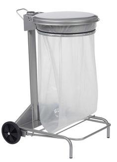 Support sac poubelle mobile à pédale en acier 50 litres gris   Supp...