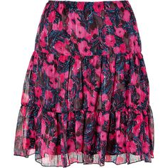 ANNA SUI Hot Pink Multicolored Printed Skirt ($318) ❤ liked on Polyvore
