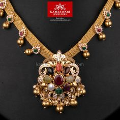 Nrita Navaratna With CZ Necklace Emerald Jewelry, Gold Jewelry, Gold Necklace, Diamond Jewelry, Gold Jewellery Design, Necklace Online, Jewelry Patterns, Necklace Designs, Indian Jewelry