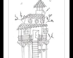 """Original Illustration.""""Treehouse"""" - Pen and ink blind contour drawing of a quirky treehouse. A4"""
