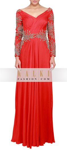 Buy Online from the link below. We ship worldwide (Free Shipping over US$100)  http://www.kalkifashion.com/red-gown-enhanced-in-pleats-and-zardosi-embroidery-only-on-kalki.html