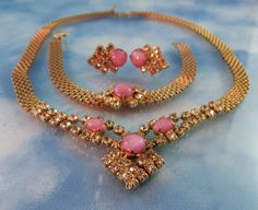 50% OFF ALL SHOP: Gorgeous Mesh Pink Moonstone & Crystal Necklace Set