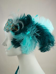 Teal And Aqua Ostrich Feather Flapper Headband by BaroqueAndRoll