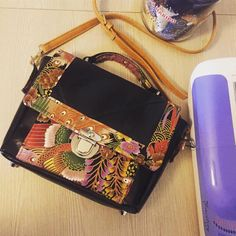 Sac Quadrille noir et tissu japonais cousu par Clementine - Patron Sacôtin