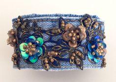 Boho Denim and Lace Cuff Bracelet Vintage Beaded Blue por bohoblvd