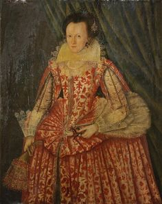 English School, 1617 Portrait of a lady, three-quarter-length, in a red and white dress, holding gloves and a fan Lifehacks, Fantasy Eyes, Pin Up, British Schools, Red And White Dress, Oil Portrait, Old Paintings, Old Master, Deviantart
