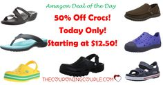 HOT BUY! 50% Off Crocs Shoes! Today Only! As Low As $12.50! Choose styles for men, women and kids! Shoes, sandals and even sneakers!  Click the link below to get all of the details ► http://www.thecouponingcouple.com/50-off-crocs-shoes-today-only-as-low-as-13-99/ #Coupons #Couponing #CouponCommunity  Visit us at http://www.thecouponingcouple.com for more great posts!