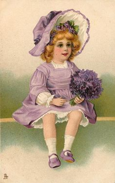 small girl with violets sits looking right Éphémères Vintage, Images Vintage, Vintage Easter, Vintage Ephemera, Vintage Girls, Vintage Pictures, Vintage Children, Vintage Postcards, Vintage Prints