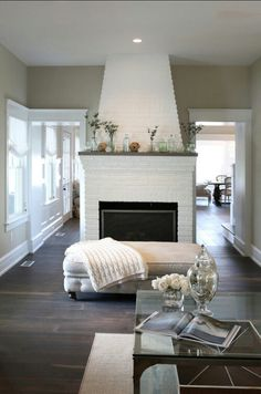Startling Cool Ideas: Living Room Remodel With Fireplace Ship Lap living room remodel with fireplace products.Livingroom Remodel Wainscoting living room remodel with fireplace spaces.Living Room Remodel On A Budget Small. My Living Room, Home And Living, Living Spaces, Small Living, Benjamin Moore, Fireplace Design, White Fireplace, Brick Fireplace, Paint Fireplace