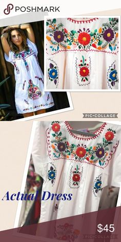 New Embroidered Mini Dress Mexican Ethnic Boho New 100% Handmade Embroidery, floral classic design, short sleeves, short lenght, boho style, super cute! Size Small Cielito Lindo  Dresses Mini