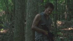 Daryl in the forest with a cool-lookin' rifle  [ The Walking Dead ]
