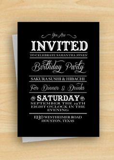 Black and White Vintage Style Birthday Invitation by MadeByBree