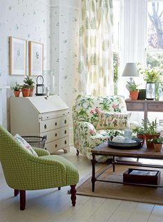 Use botanical prints and natural materials | Period Living, so me for a long period of time, traditional living.  Botanicals are timeless.