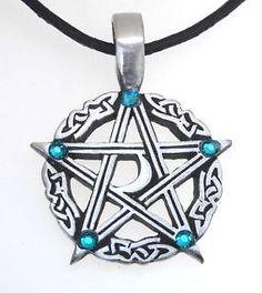 PEWTER PENTAGRAM Wicca Pagan Moon BLUE TOPAZ Crystal DECEMBER Birthstone Pendant picclick.com