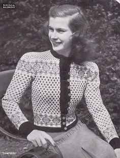 Stricken : If you would like to make this item Knitted Ladies Cardigan Pattern, Fair Isle L. Fair Isle Pullover, Cardigans For Women, Jackets For Women, Fair Isle Knitting Patterns, Knitting Ideas, 1950s Women, Cardigan Pattern, Vintage Knitting, Vintage Patterns