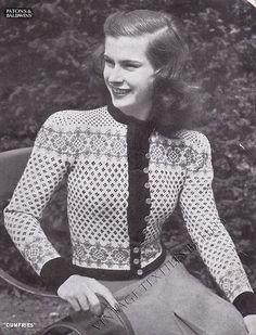Vintage 1940's Knitting Pattern Scottish Fair Isle Cardigan Dumfries B5 157 | eBay