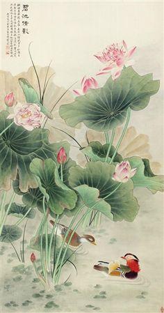 Lotus Painting, Japan Painting, Korean Art, Asian Art, Canard Mandarin, Lotus Flower Wallpaper, Lotus Flower Pictures, Cherry Blossom Art, Korean Painting