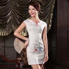 Attractive Embroidery Modern Cheongsam - White, Chinese Dresses Costumes,Qipao Ao Dai, Cheongsam Modern, Chinese Shirt, Chinese Dresses, Chinese Style, Traditional Outfits, Asian Beauty, Valentino, Fashion Dresses