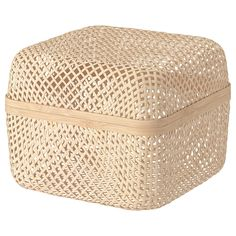 IKEA - SMARRA, Box with lid, natural, This basket fits perfectly in EKET cabinet, depth 35 cm. Decorative Storage, Small Storage, Storage Boxes, Storage Baskets With Lids, Ikea Storage, Ikea Stockholm, Kallax Shelving, Storage Shelving, Ikea Family
