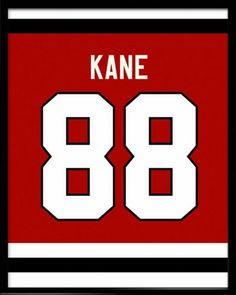 Patrick Kane Number 88 Chicago Blackhawks Jersey Art Print. Take a look at our Etsy store, choose your favourite item and use FATHERSDAY15 coupon code for Free shipping within US! #inspirational #quote #poster #mancave #fathersday #gift #hockey #memorabilia #nhl