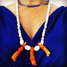 Coral Pearl Jewelry, Washer Necklace, Coral, Style Inspiration, Pearls, Fashion, Moda, Fashion Styles, Beaded Jewelry