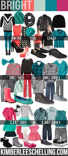Family photos - what to wear: Bright Teal & Coral Family photo shoot style inspiration - what to wear From Kimberlee Schelling Photography Family Pictures What To Wear, Fall Family Photos, Family Pics, Family Portraits What To Wear, Family Posing, Holiday Photos, Family Picture Colors, Family Picture Outfits, Colors For Family Pictures
