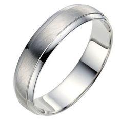 Palladium 950 5mm matt & polished ring - Ernest Jones