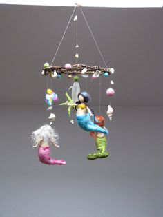 Mermaids and the ocean needle felted mobile by Made4uByMagic, $145.00.... mermaid room.